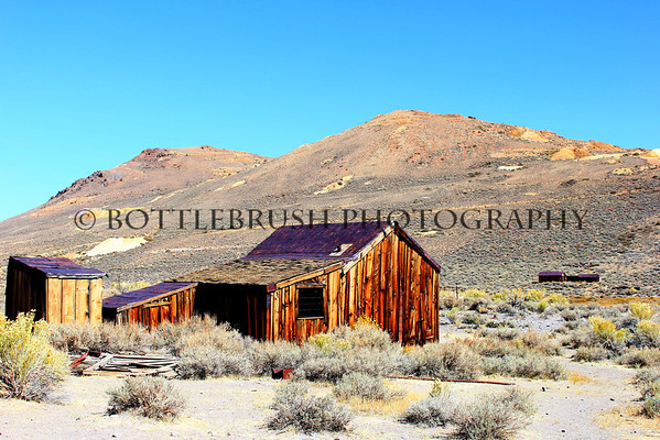 The back and side of the Moyle House in Bodie State Historic Park, California.