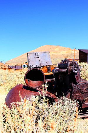 Abandoned car with engine in Bodie, California.
