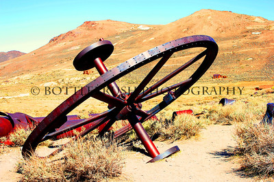 Old mining wheel in Bodie, CA.