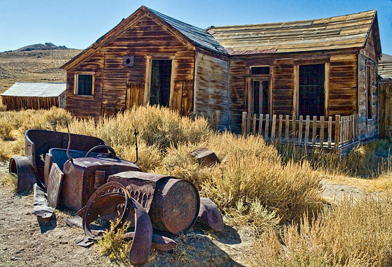 Car Remnants and House - Bodie Ghost Town, California