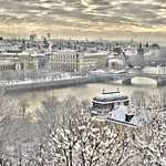 Prague skyline after fresh snow.  Cropped from original printed 80 inches high by 41 feet wide.  Original dimensions 67823x12440 pixels.