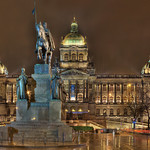 Stitched shot of a Prague museum on a rainy night.  Original image is 12936x9616 pixels.