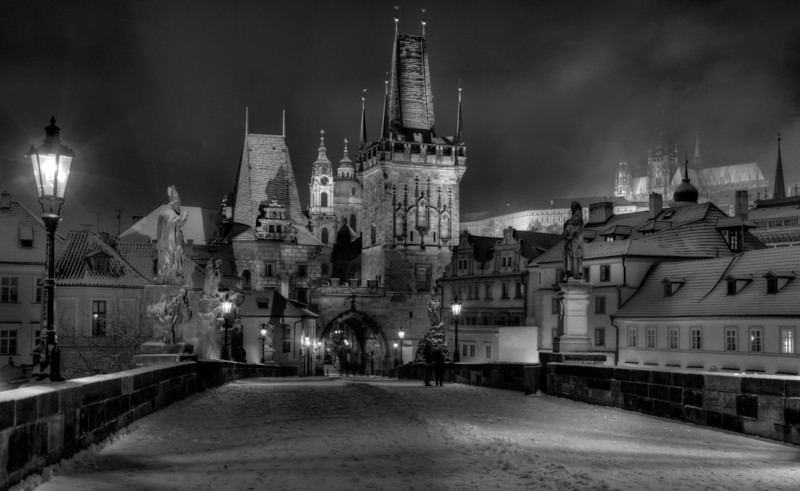 Stitched Panorama of the Charles Bridge in Prague on a snowy night.  Original image is 17032x10703 pixels.