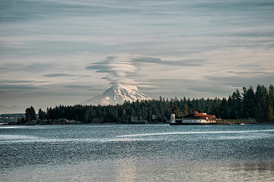Mount Rainier and lenticular clouds from the Fox Island bridge
