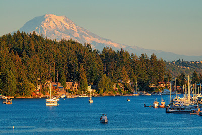 Late afternoon sun on Gig Harbor Bay.  Three shot HDR image.