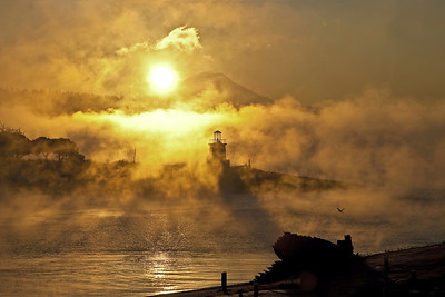 Sunlight through the fog rising off of the wanters of Gig Harbor and Puget Sound.