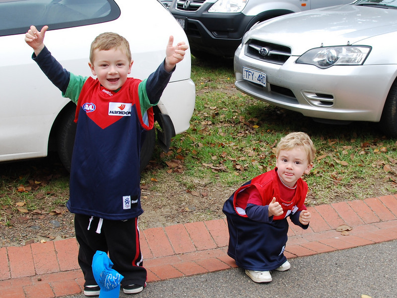 Go Dees, grandson's at the MCG, first game