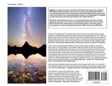 """Glacier National Park After Dark"" book back cover"