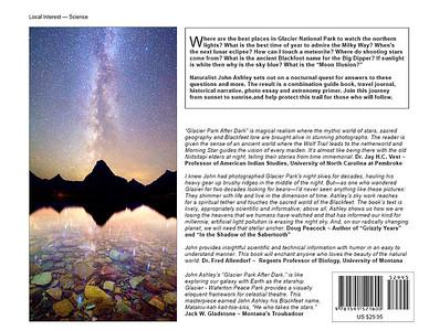 """""""Glacier National Park After Dark"""" book back cover"""