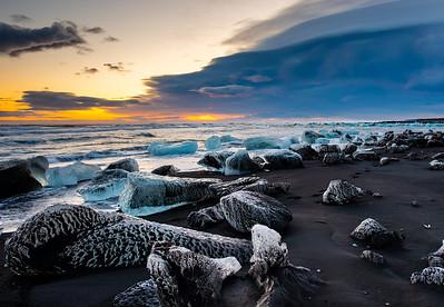 Black Sand Ice Sunrise