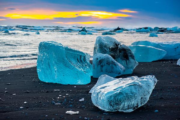 Blue Ice on Beach