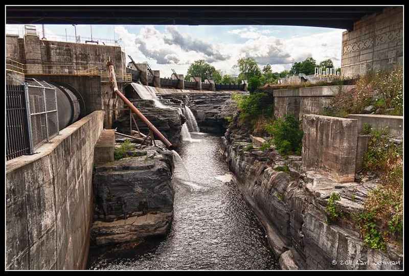 Part of the falls and hydroelectric plant at Glens Falls. Three images in Nik HDR Efx Pro.
