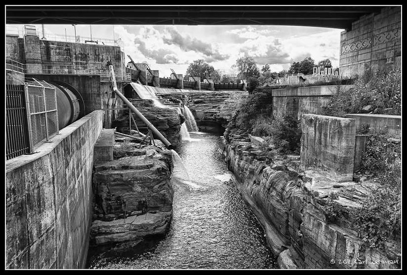 A view of the hydroelectric plant and part of the falls at Glens Falls. Black and white conversion in Nik Silver Effects Pro.