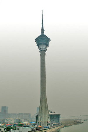 Macau Tower - view from Sai Van Bridge