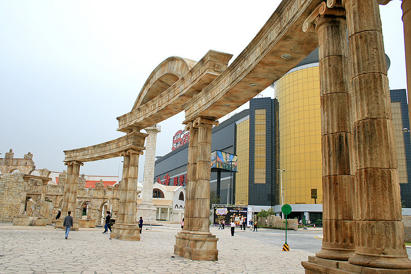 Roman Amphitheatre, Fisherman's wharf, Macau. Sands Casino in Background