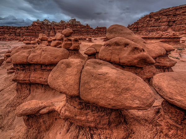 Rock Cluster in Goblin Valley under Cloudy Skies