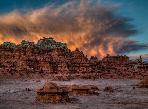 Flaming Sunset over Goblin Valley