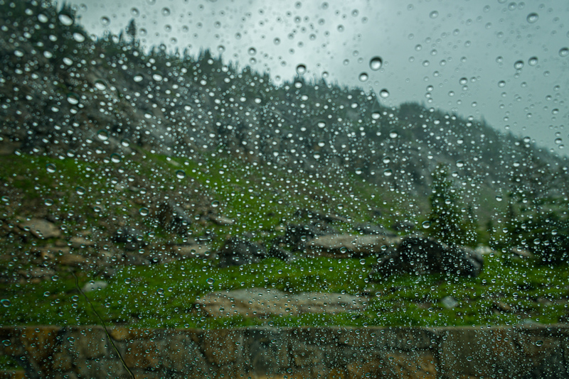 Raindrops on Windshield   Going to the Sun Road   Glacier National Park