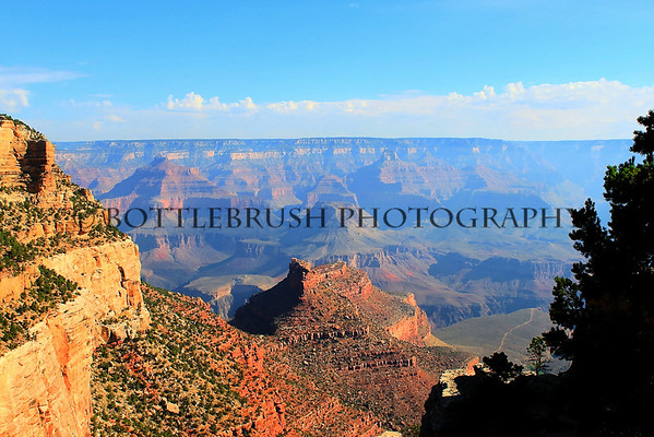 Grand Canyon with Bright Angel Trail in distance.