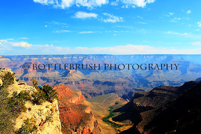 Grand Canyon and the Bright Angel Trail wide shot.