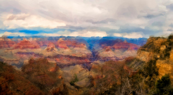 Grand Canyon Cloudy Day Painted