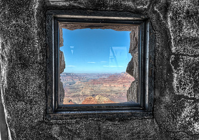 From the top floor of the Watchtower at the Grand Canyon, a view out the small window.