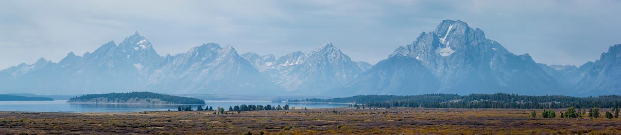 Panorama of the Teton Range and Jackson Lake. Grand Teton National Park, Wyoming. 2014.