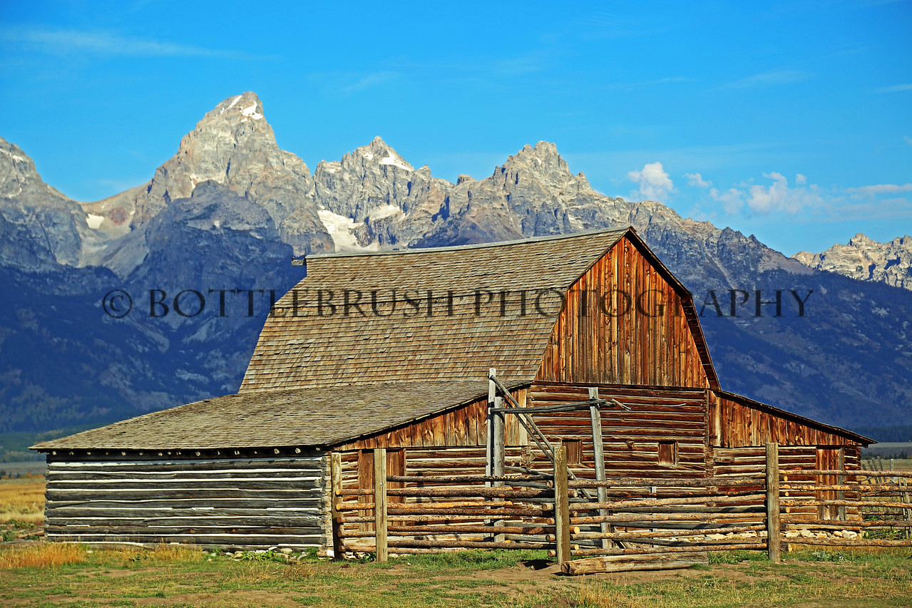 John Moulton barn along Mormon Row with the Teton Range.  Grand Teton National Park.