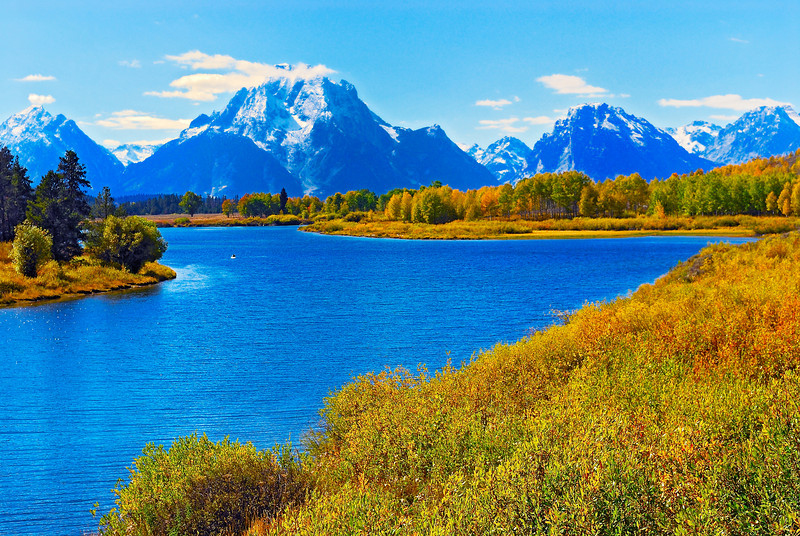 Oxbow Bend on the Snake River, Grand Teton Nat'l Park, Mt. Moran in distance