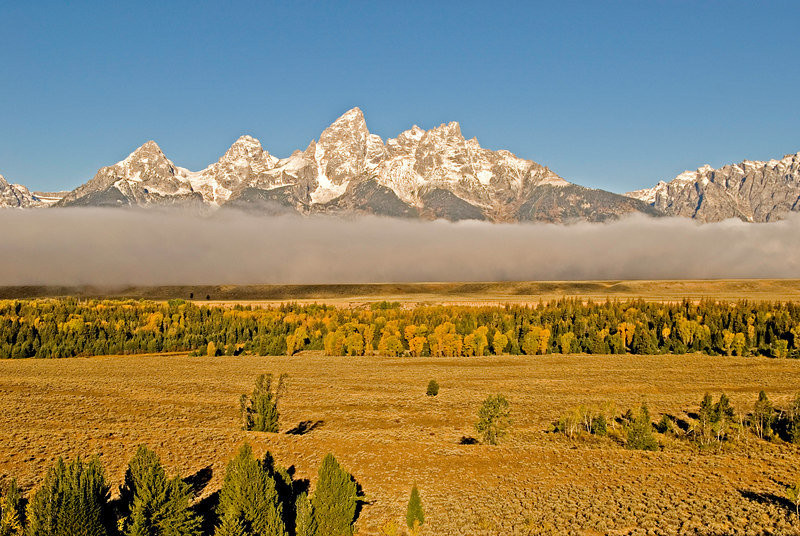 Fog bank over Snake River splits an image of the Tetons.