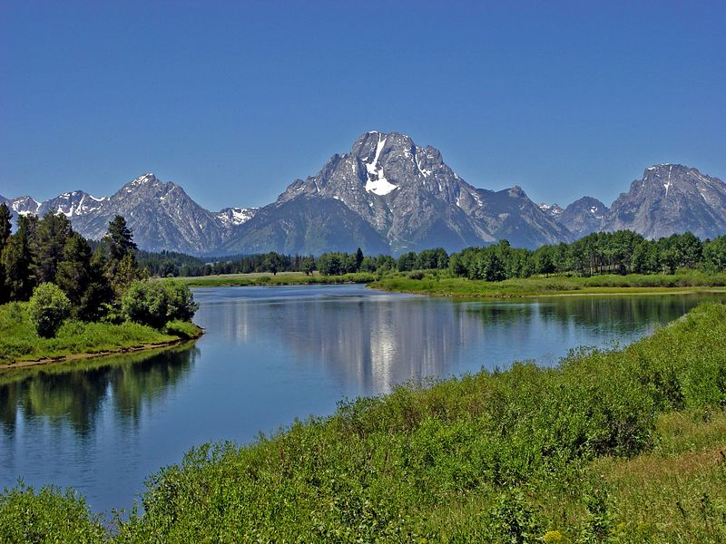 Mt. Moran of the Tetons reflected at Oxbow Bend of the Snake, mid-July in 2005