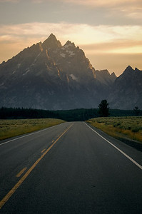 Sunset on the Tetons scenic highway.