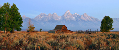 Barn with Tetons in Background