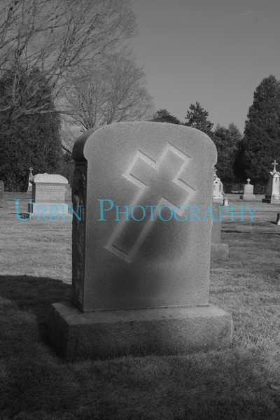 Simple cross on a headstone