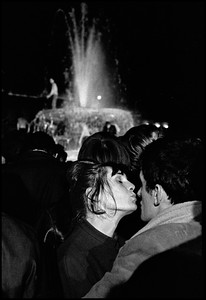 GB.  England.  London.  Trafalgar Square.  A kiss at midnight on New Year's Eve.  1964