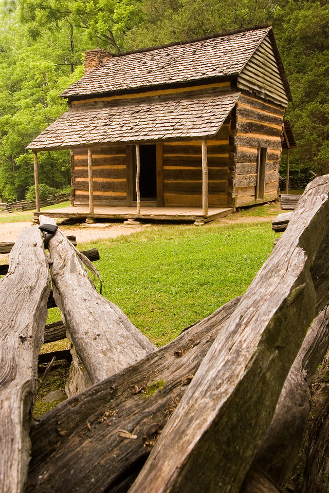This is the John Oliver cabin in Cades Cove.  It is the first structure on the Cades Cove Loop Road and is about a 200 yd walk from the road.