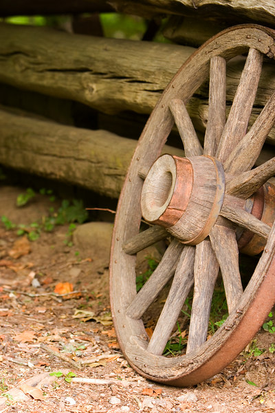 This old wagon wheel is in the pioneer village at Oconaluftee park entrance.