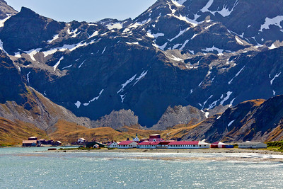 GR114    View of British government installation at King Edward Point with Grytviken in the background.