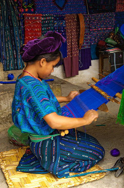 #GP 099 Girl Weaving with Backstrap Loom, Santa Catarina Palopo, Guatemala