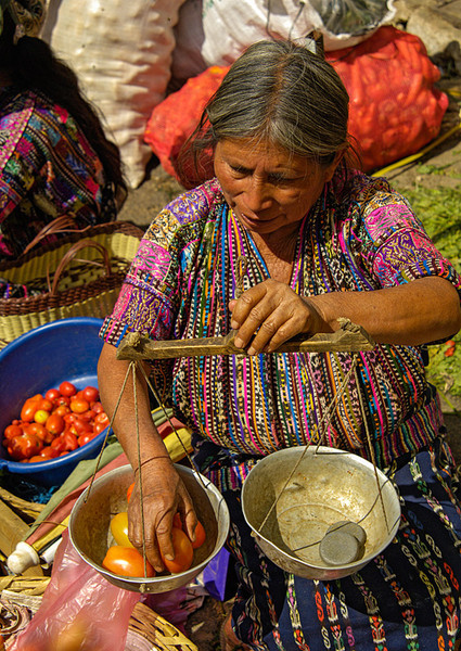 #GP 084 Weighing Tomatoes at Market, Solola, Guatemala