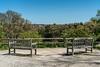 Panorama of the view from the Gimbel Memorial Overlook, Nichols Arboretum