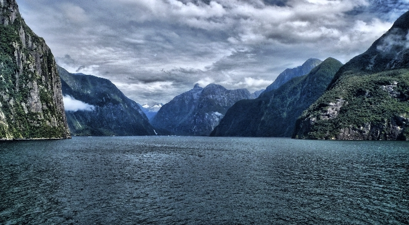 HDR image. Milford Sound, New Zealand.; panorama;