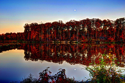 Sun sets and Moon rises on Lake Betz, Morrisville, NC