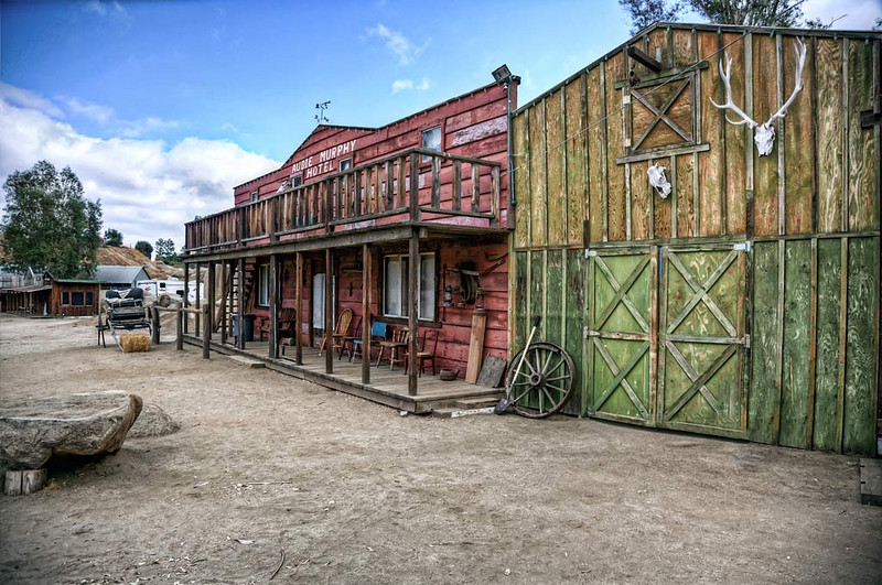 These buildings are from Audie Murphies ranch and are now at the Wooden Nickel Ranch in Minifee.
