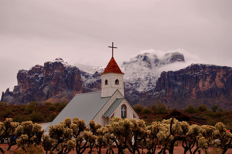 This is the Elvis Presley Memorial Chapel at Superstition Mountain Museum in Apache Junction AZ We don't get a whole lot of snow in Phoenix,  but we do get some on occasion, and this was one of those occasions.