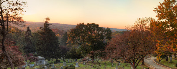 A panorama made from 5 HDR images of a cemetery near my house.