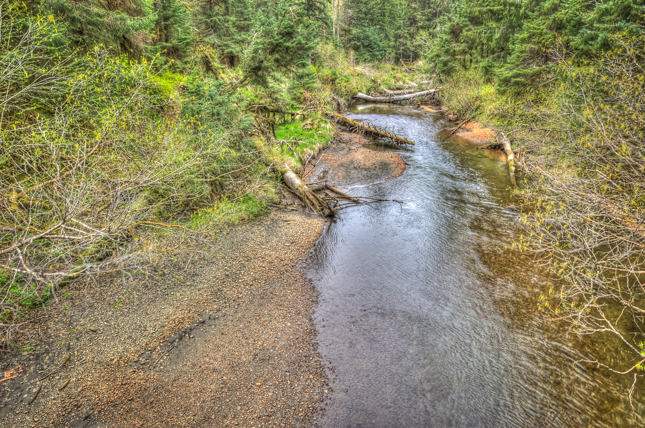 A 5 EV HDR Photograph of Montana Creek flowing under the bridge on the Brotherhood Bridge Trail in Juneau Alaska.  Taken with a Nikon d700, edited in Photomatix & Lightroom.