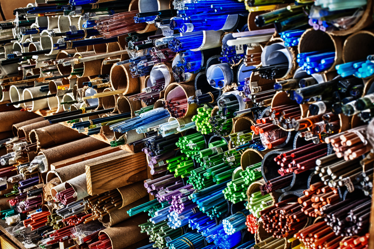 A 7 EV HDR Photograph of various colored glass rods that are used to create glass jewelry by Basement Studios in Juneau Alaska.  Taken with a Nikon d700, edited in Photomatix & Lightroom.