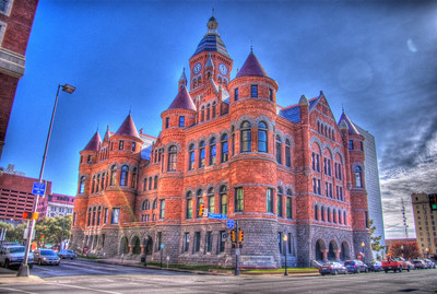 A 3 EV HDR photograph of the Red Brick Building near the Book Depository where John F. Kennedy was assassinated in Dallas Texas.  Taken with a Sony Alpha a300, edited in Photomatix & Lightroom.