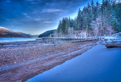 A 9 EV HDR Photograph of Remnants of the Treadwell Gold Mine on Douglas Island Alaska, near Juneau Alaska, looking South down the Gastineau Channel.  Shot with a Sony Alpha a300, edited in Photomatix & Lightroom.